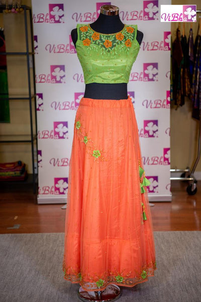 Skirt Crop Top - Orange & Lime Green Skirt Crop Top