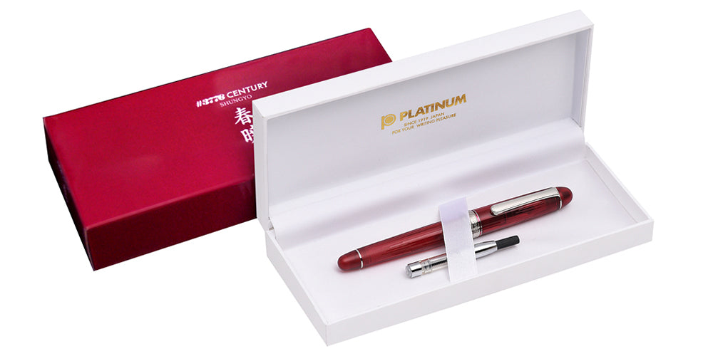Platinum Century #3776 Shungyo Red Fountain Pen In Box Converter