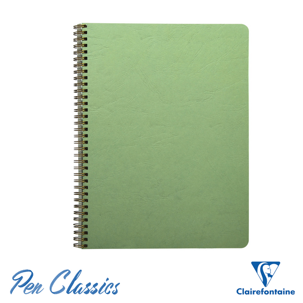 Clairefontaine Wirebound A4 Age-Bag Green Notebook - Lined Cover