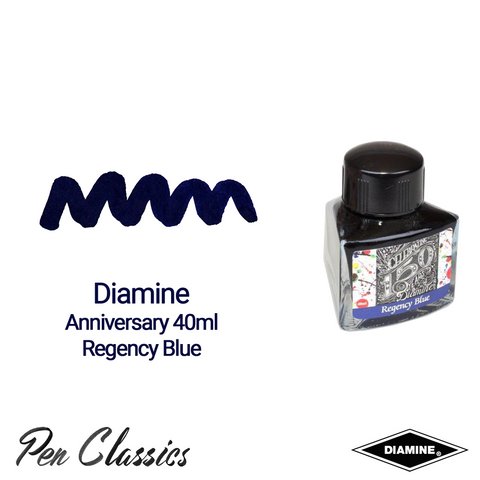 Diamine Anniversary Regency Blue 40ml Ink Swatch Bottle