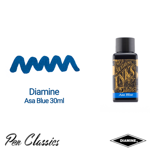 Diamine Asa Blue 30ml Ink Swatch Bottle