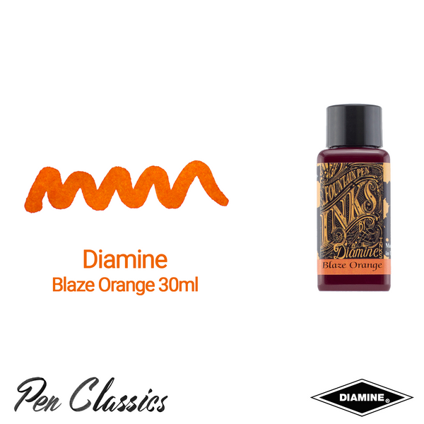 Diamine Blaze Orange 30ml Ink Swatch Bottle