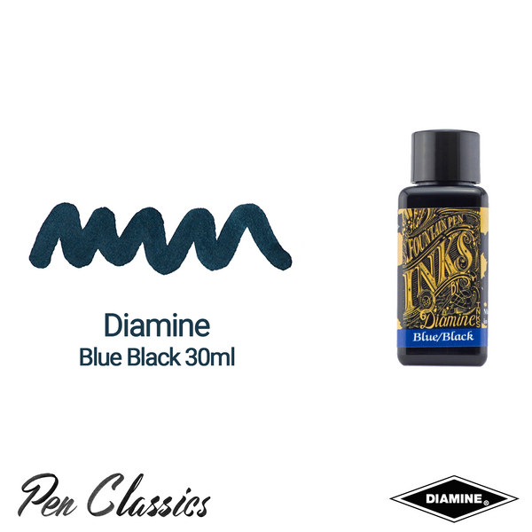 Diamine Blue Black 30ml Ink Swatch Bottle