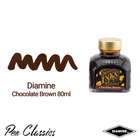 Diamine Chocolate Brown 80ml Ink Swatch Bottle