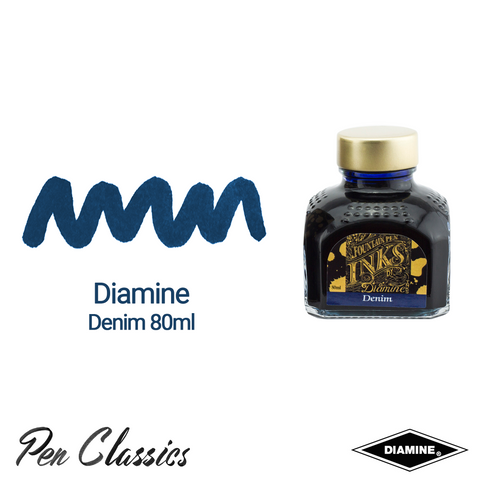 Diamine Denim 80ml Ink Swatch Bottle