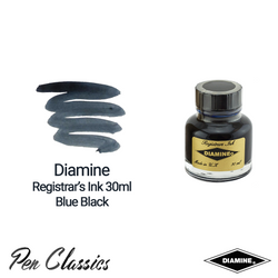 Diamine Registrar's Blue Black 30ml Ink Swatch Bottle