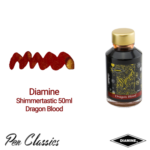 Diamine Shimmertastic 50ml Dragon Blood Swatch and Bottle
