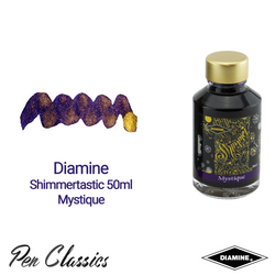 Diamine Shimmertastic 50ml Mystique Ink Swatch and Bottle
