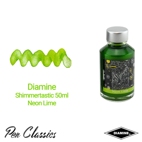 Diamine Shimmertastic 50ml Neon Lime Ink Swatch and Bottle