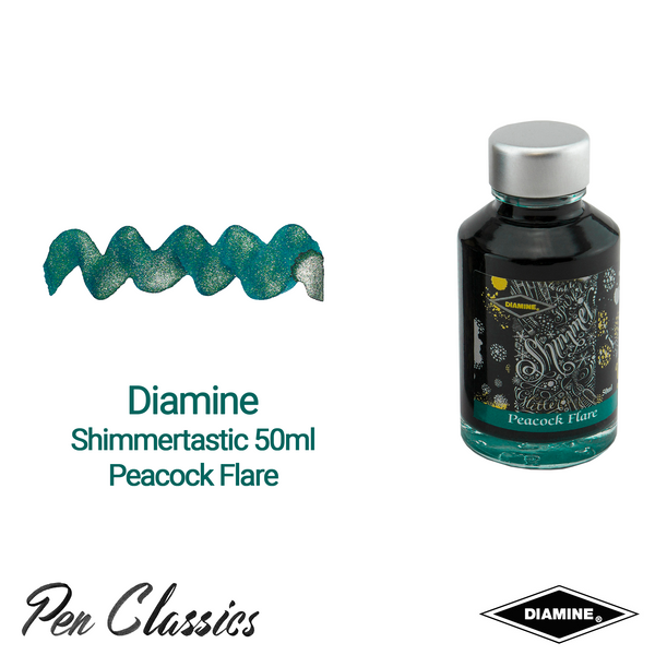 Diamine Shimmertastic 50ml Peacock Flare Ink Swatch and Bottle