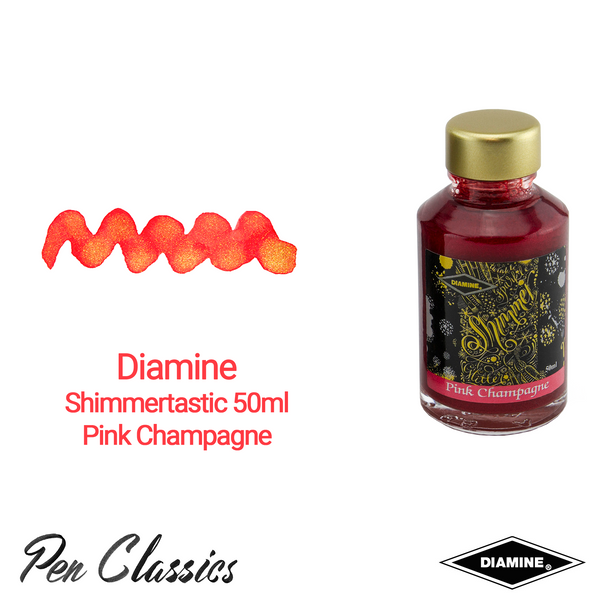 Diamine Shimmertastic 50ml Pink Champagne Ink Swatch and Bottle