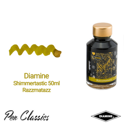 Diamine Shimmertastic 50ml Razzmatazz Ink Swatch and Bottle