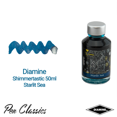 Diamine Shimmertastic 50ml Starlit Sea Ink Swatch and Bottle