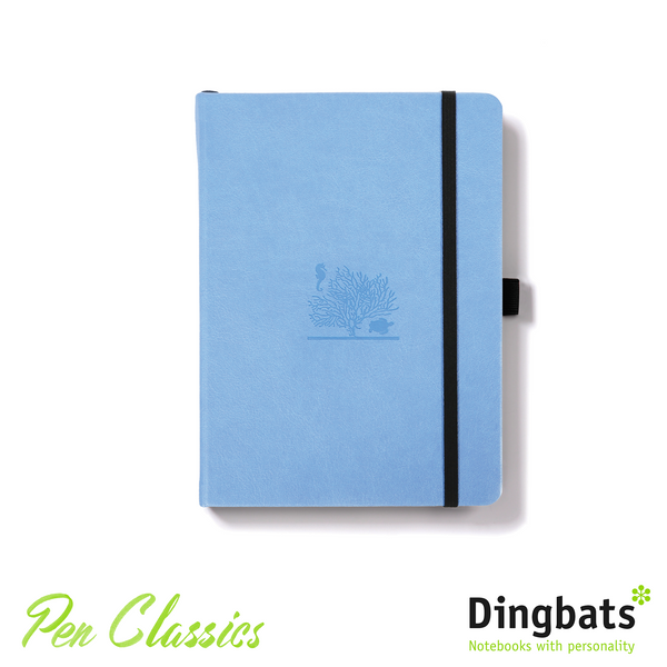 Dingbats Earth Sky Blue Great Barrier Reef A5 Dot Grid Closed Notebook Cover