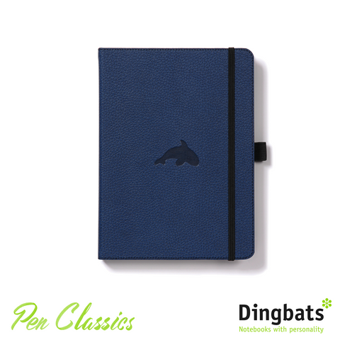 Dingbats Wildlife Blue Whale A5 Dot Grid Closed Notebook Cover
