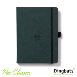 Dingbats Wildlife Green Deer A4 Dot Grid Closed Notebook Cover