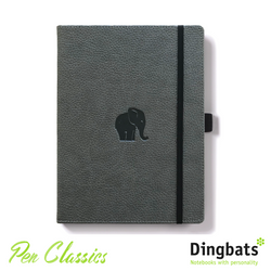 Dingbats Wildlife Grey Elephant A4 Dot Grid Closed Notebook Cover