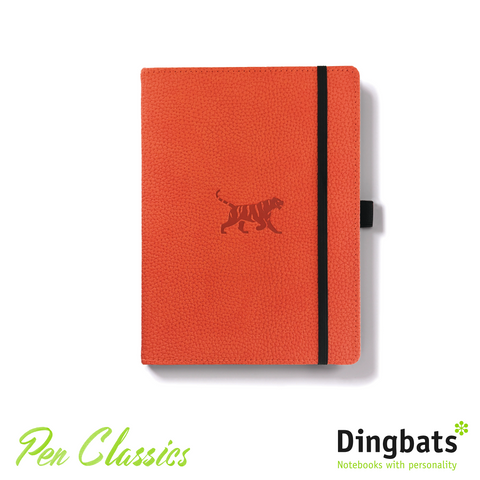 Dingbats Wildlife Orange Tiger A5 Dot Grid Closed Notebook Cover