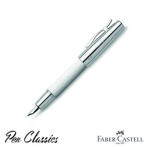 Faber-Castell e-Motion Rhombus White Fountain Pen Posted