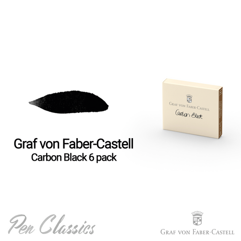Graf von Faber-Castell Carbon Black 6 Cartridges Swab and Bottle