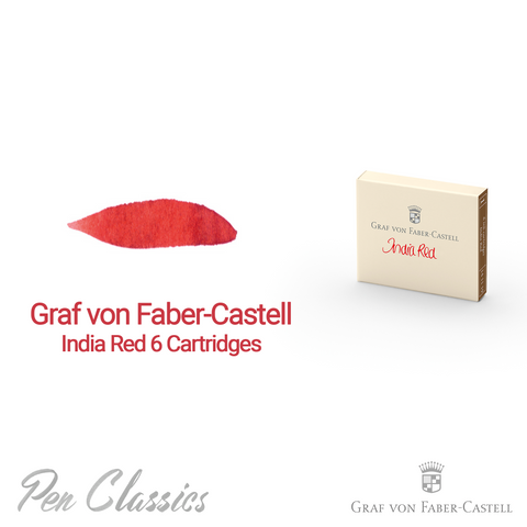 Graf von Faber-Castell India Red 6 Cartridges Swab and Bottle