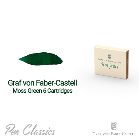Graf von Faber-Castell Moss Green 6 Cartridges Swab and Bottle
