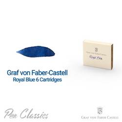 Graf von Faber-Castell Royal Blue 6 Cartridges Swab and Bottle