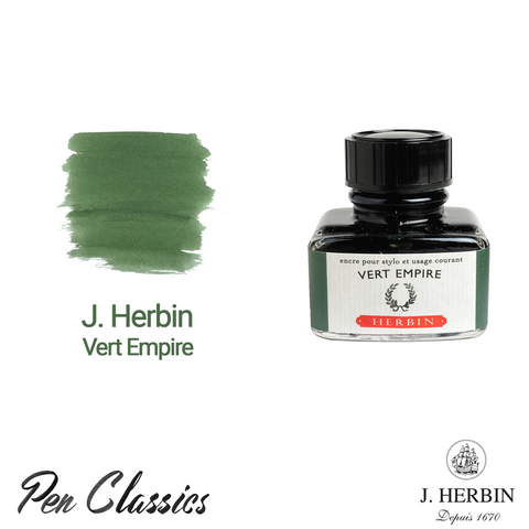 J. Herbin Vert Empire 30ml Swab and Bottle