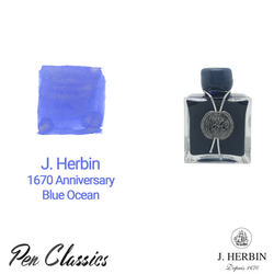 J Herbin 1670 Anniversary Bleu Ocean Swab and Bottle
