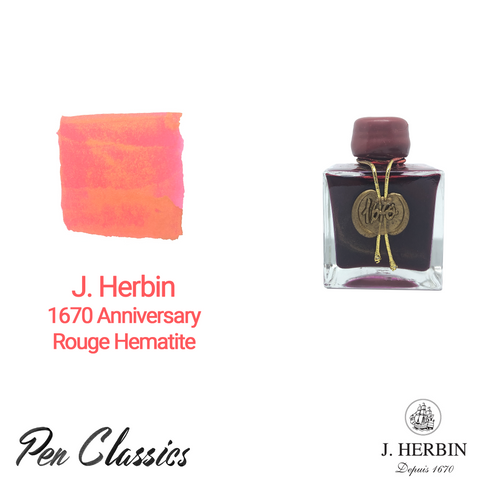 J Herbin 1670 Anniversary Rouge Hematite Swab and Bottle