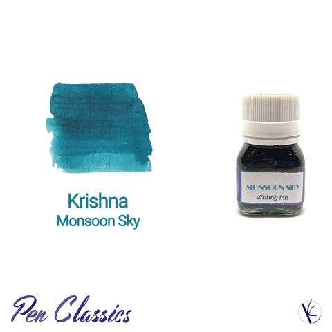 Krishna Monsoon Sky Teal Blue Ink