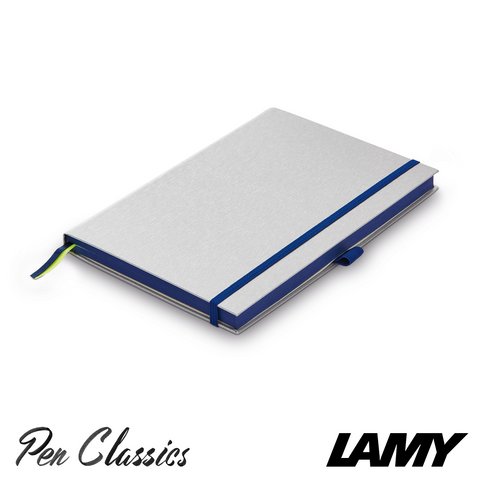 Lamy Hard Cover Notebook A5 Silver with Oceanblue Trim