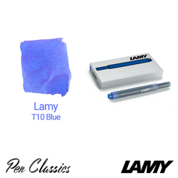 Lamy T10 Blue Cartridges 5 Pack Cartridge and Swab