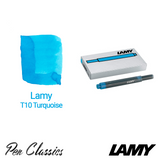 Lamy T10 Turquoise Cartridges 5 Pack and Swab
