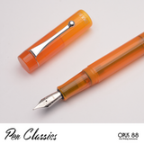 Opus 88 Demonstrator Orange Uncapped Nib Detail with Cap