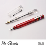 Opus 88 Fantasia Red fountain pen posted, size comparison with Opus 88 Demonstrator