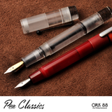 Opus 88 Fantasia Red fountain pen posted, size comparison with Opus 88 Demonstrator, with nib