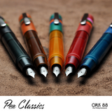 Opus 88 Fantasia colour range, red, yellow, blue, green, coffee brown, fountain pens posted