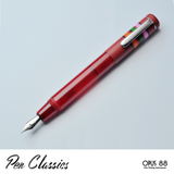 Opus 88 Fantasia Red barrel with red cap posted using threads at the back of the pen