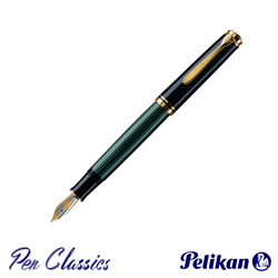 Pelikan Souverän M800 Fountain Pen Black and Green with Gold Posted