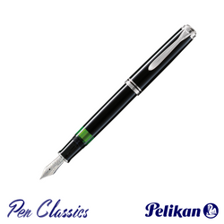 Pelikan Souverän M805 Fountain Pen Black with Silver Posted