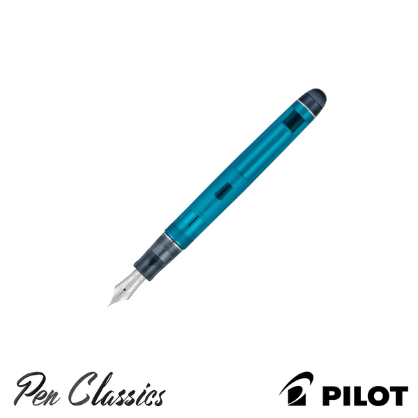 Pilot Custom 74 Teal Fountain Pen Uncapped Nib