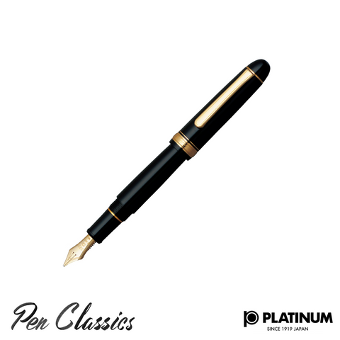 Platinum #3776 Black Diamond Gold Trim Music Nib Posted