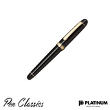 Platinum #3776 Black Gold Trim Music Nib Capped
