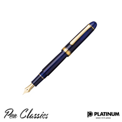 Platinum #3776 Chartres Blue Gold Trim Nib Posted