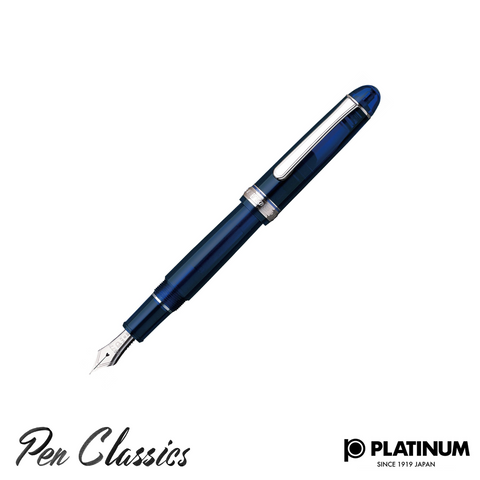 Platinum #3776 Chartres Blue Rhodium Trim Nib Posted