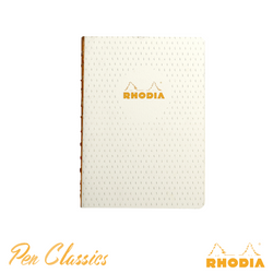 Rhodia Heritage A5 Raw Bound Notebook Lined - Moucheture Ivory