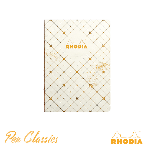 Rhodia Heritage A5 Raw Bound Notebook Lined - Quadrille Ivory