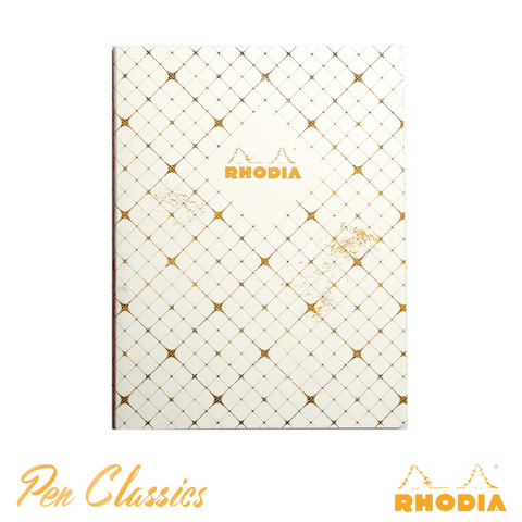 Rhodia Heritage B5 Raw Bound Notebook Lined - Quadrille Ivory