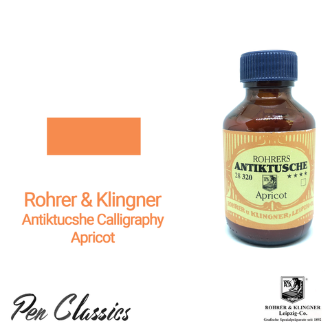 Rohrer & Klingner Antiktucshe Apricot Calligraphy 100ml Ink Bottle and Swab